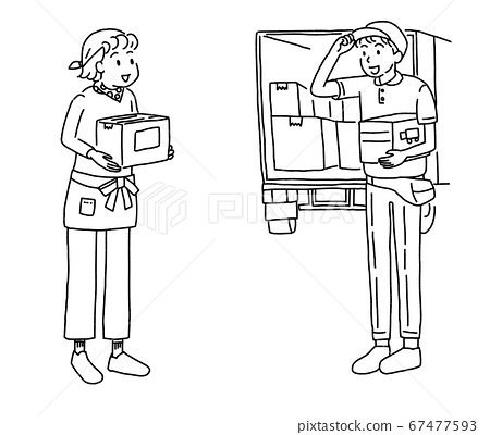 A woman and a truck delivery agent picking up and delivering items by mail order 67477593