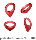 Glossy red realistic modern map pointers vector set in various angles 67480386