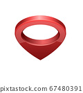 Glossy red realistic modern map pointer. Map pointer 3d pin. 67480391