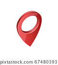 Glossy red realistic modern map pointer. Map pointer 3d pin. 67480393