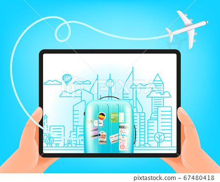 World Travel vector concept. Man holding modern 67480418