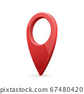 Glossy red realistic modern map pointer. Map pointer 3d pin. 67480420