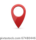 Glossy red realistic modern map pointer. Map pointer 3d pin. 67480446