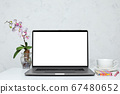 Laptop with blank empty screen 67480652