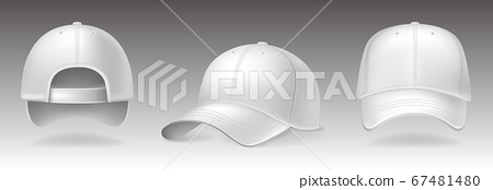 Baseball caps from different sides on white background. Sports headwear with mockup for design, realistic vector illustration collection 67481480