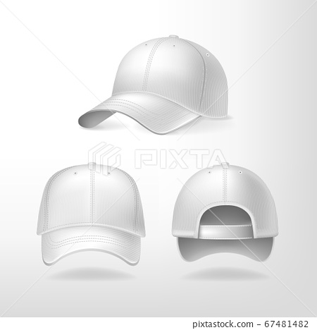 Baseball caps from different sides on white background. Sports headwear with mockup for design, realistic vector illustration collection 67481482