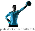 soccer player goalkeeper man silhouette shadow isolated white background 67482716