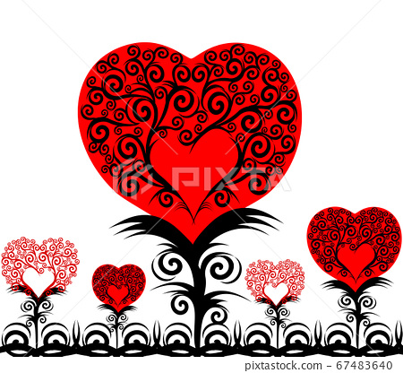 vector illustration of a heart flowers isolated on white background 67483640