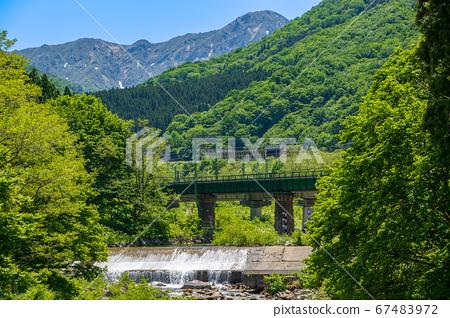 魚野川 타니 연봉 쑥 다리 부근 신록의 풍경 니가타 현 유자와 마치 67483972