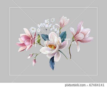 화려한 꽃 소재 조합 및 디자인 요소 67484141
