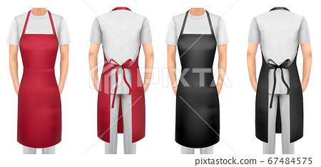 Black and red cotton kitchen apron set. Design 67484575