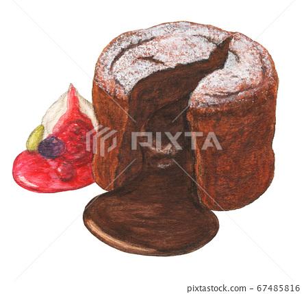 托羅里軟糖巧克力,水彩筆劃 67485816