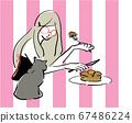 巴黎人煎餅矢量貓 67486224