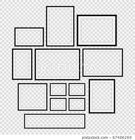 Set Realistic black picture frame on transparent background.vector illustrator 67486269