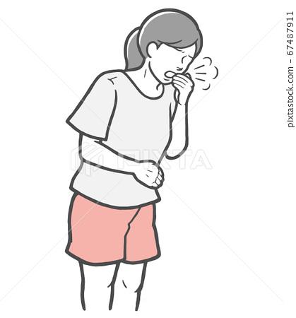 입을 손으로 눌러 기침을하는 젊은 여성 67487911