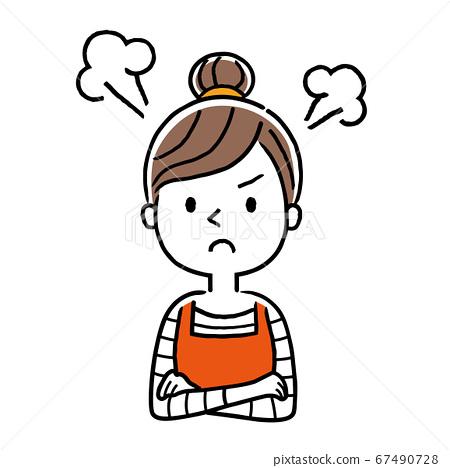 矢量圖素材:憤怒,沮喪的年輕家庭主婦 67490728