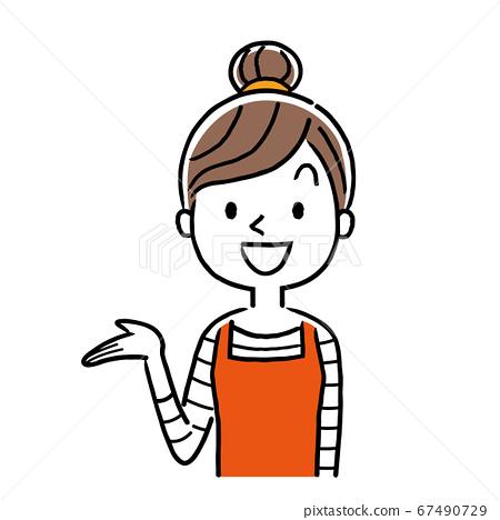矢量插圖素材:指導,年輕的家庭主婦介紹 67490729