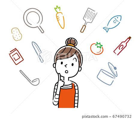 矢量圖材料:年輕的家庭主婦,考慮烹飪 67490732