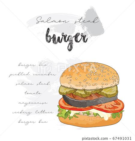 Hand drawn colorful salmon steak burger ingredients recipe 67491031