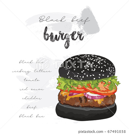 Hand drawn colorful black bun beef burger ingredients recipe 67491038
