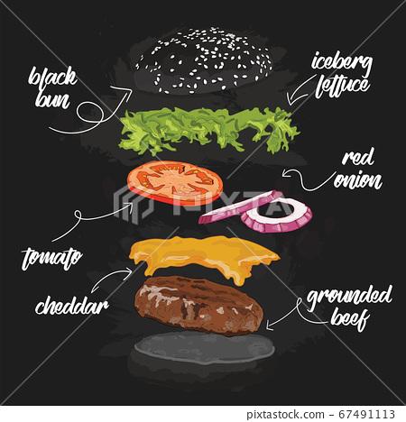 Hand Drawn Colorful Black Bun beef Burger Flying Ingredients 67491113