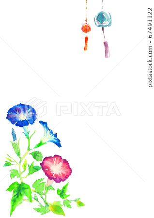 Morning glory and wind chimes painted in watercolor 67491122