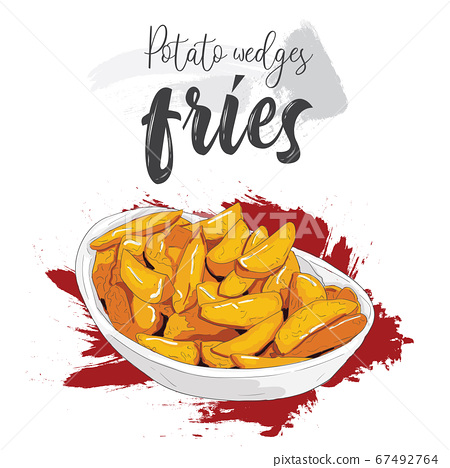 Hand drawn colorful fast food potato wedges fries in a bowl 67492764