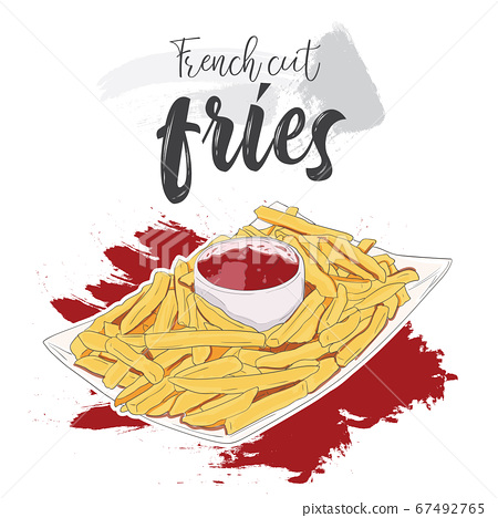 Hand drawn colorful fast food French cut fries in bowl with ketchup 67492765