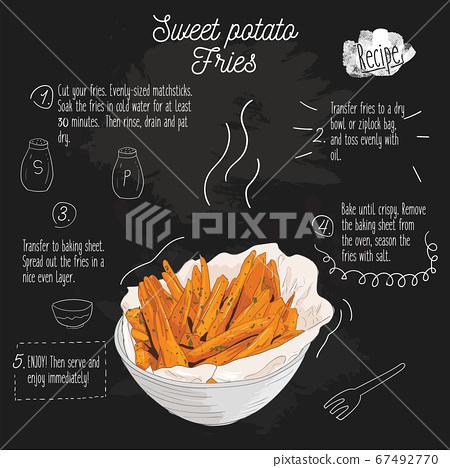 Hand Drawn Colorful sweet potato fries. Recipe on blackboard. 67492770