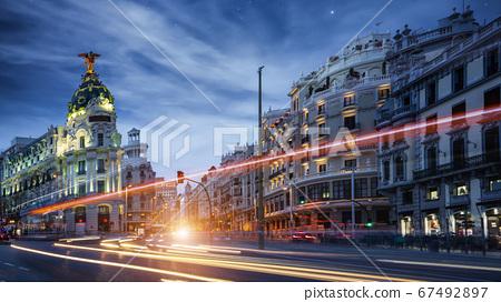 Spain cityscape at Calle de Alcala and Gran Via 67492897