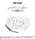 Hand drawn black and white potato wedges fries in bowl 67492971