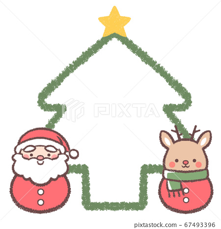 聖達摩和馴鹿達摩樹線畫框 67493396