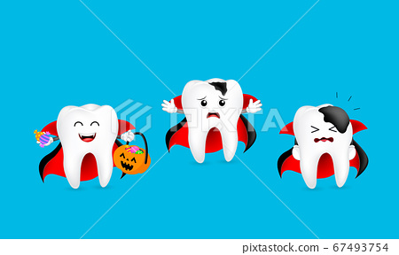 Cute cartoon dracula tooth character show stages of caries development.  67493754