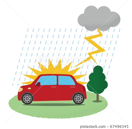 遭受雷暴的紅色汽車的矢量圖 67496345