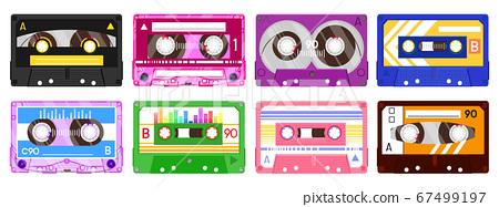 Audio record tapes. Retro 90s music cassette, vintage music mix audio cassette, 80s audio tape isolated vector illustration icon set 67499197