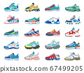 Modern sneakers. Running, training footwear, fitness sport sneakers, modern athletic shoes isolated vector illustration icons set 67499205