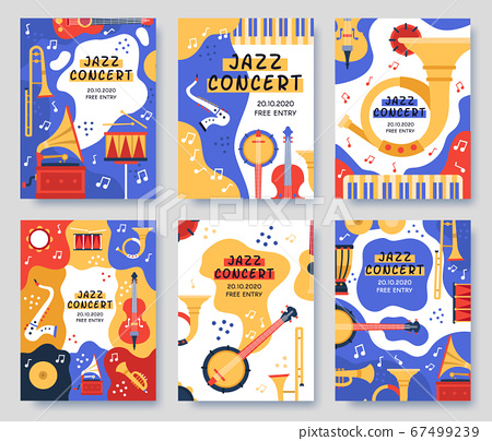 Music festival posters. Musical party or event music instruments abstract banner, jazz concerts invitation brochure, vector illustration set 67499239