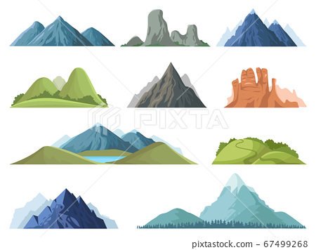 Rocky mountains. Mountain tops outdoor landscape, winter peaks, hilltop with trees, hiking mountain valley landscape vector illustration set 67499268