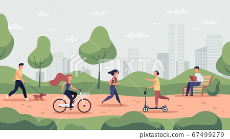 Park activities. Outdoor sport workout and healthy lifestyle, people running, riding bicycle and jogging, park activities vector illustration 67499279