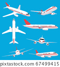 Aircraft transport. Passenger flight jet airplane, aviation vehicles, flying airline airplanes isolated vector illustration icons set 67499415