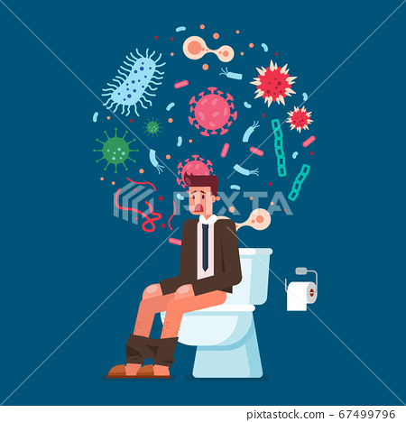 Businessman sitting on toilet bowl and suffering 67499796