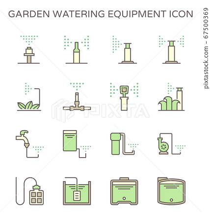 Garden watering equipment and sprinkler icon set 67500369