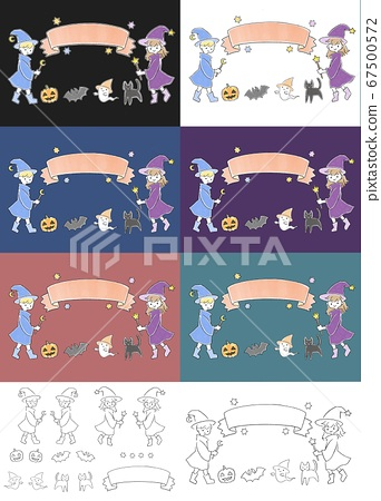 Colorful Halloween illustration material that can be used for parties etc. 67500572