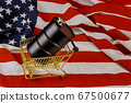 A barrel of oil on a american flag background 67500677