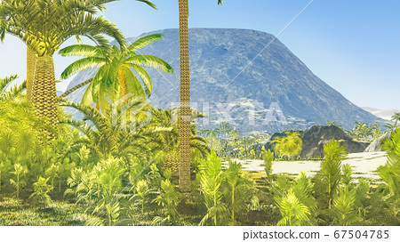 Beautiful natural background -African oasis 3d rendering 67504785