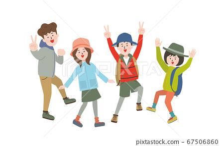 四個男人和女人穿著戶外衣服玩 67506860