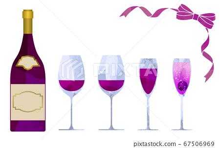 紅酒和葡萄酒瓶和絲帶插圖設置摳圖風格 67506969