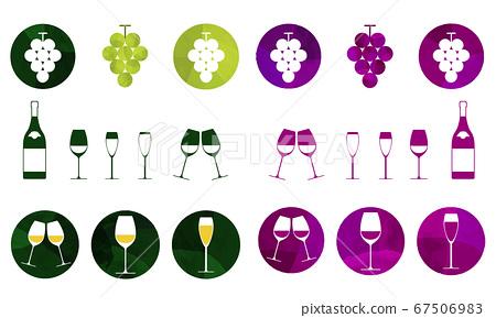 葡萄酒和葡萄和葡萄酒瓶圖設置圖標 67506983