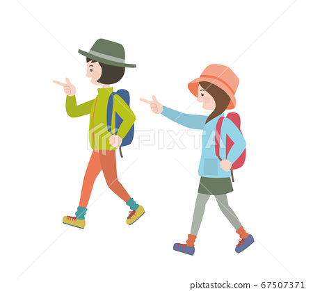 Two women wearing outdoor clothes and carrying a backpack and walking happily 67507371