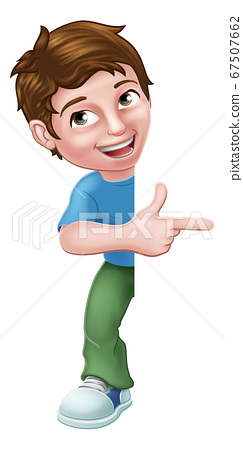 Kid Cartoon Boy Child Pointing Sign 67507662